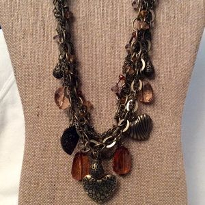 Earth-toned 2 Strand Charm Necklace